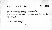 Der Chorstil Henry Purcell's