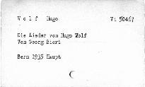 Die Lieder von Hugo Wolf