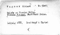 Richard Wagner's Briefe an Theodor Uhlig, Wilhelm Fischer, Ferdinand Heine