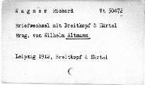 Briefwechsel mit Breitkopf & Haertel