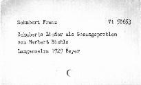 Schubert Lieder als Gesangsproblem.