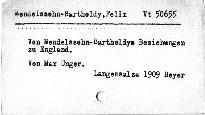 Von Mendelsohn - Bartholdy Beziehungen zu England