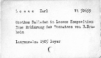Goethes Balladen in Loewes Komposition