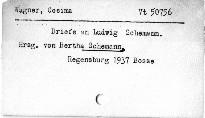 Cosima Wagner Briefe an Ludwig Schemann