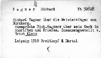 Richard Wagner über die Meistersinger in Nürnberg