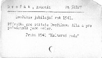 Dvořákův jubilejní rok 1941