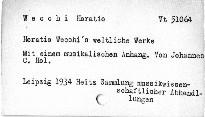 Horatio Wecchi's weltliche Werke