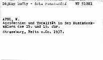 Accidentien und Tonalität in den Musikdenkmälern des 15. und 16. Jahrhunderts