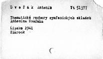 Thematické rozbory symfonických skladeb Antonína Dvořáka