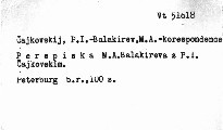 Perepiska M. A. Balakireva s P. I. Čajkovskim