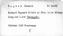 Richard Wagners Briefe an Frau Julie Ritter