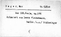 Max Reger: Der 100