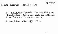 Kleine Heinrich Schütz-Buch