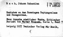 J. S. Bach: Kantaten zu den Sonntagen S