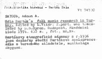 Béla Bartók's folk music research in Turkey