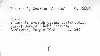 Ravel v zerkale svoich pisem