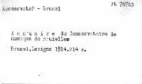 Annuaire du Conservatoire royal de Musique de Bruxelles
