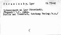 Erinnerungen an Igor Strawinsky