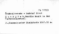 Die Musik in der Tschechoslowakei