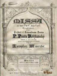 Missa pro tenore I. et II., basso I. et II., opus 20