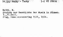 Studien zur Geschichte der Musik in Böhmen                         (I)