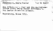 Die frühdeutsche Oper und die musikdramatische Kunst Georg Caspar Schürmann's                         (I. Band)