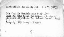 Die Familie Mendelssohn 1729 bis 1847